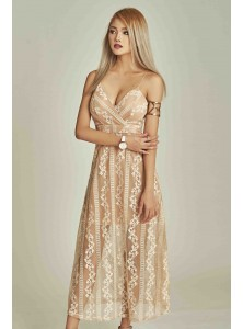 Aphelia Embroidered Maxi Dress in Nude