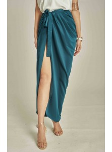 Benz Draped Maxi Skirt in Teal